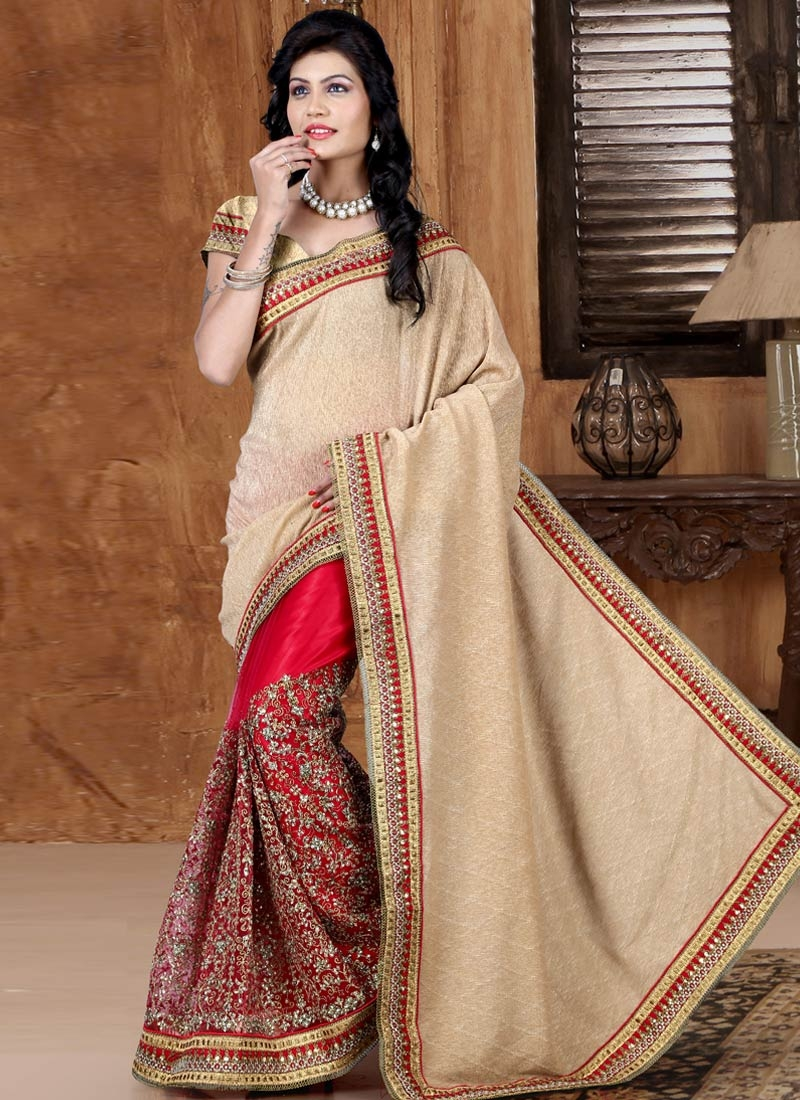 Extraordinary Stone Work Red Color Half N Half Wedding Saree