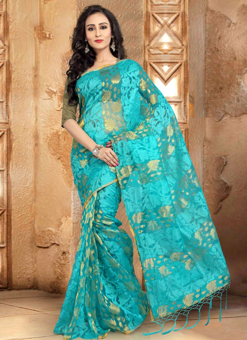 Extraordinary Turquoise Color Casual Saree