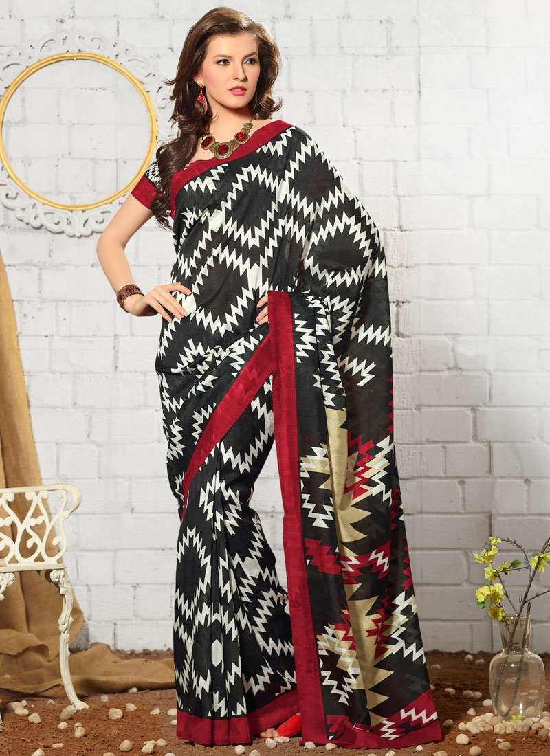 Exuberant Abstract Print Art Silk Casual Saree