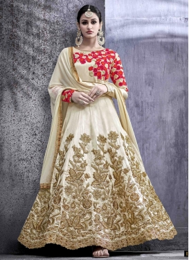 Exuberant Art Silk Long Length Designer Anarkali Suit