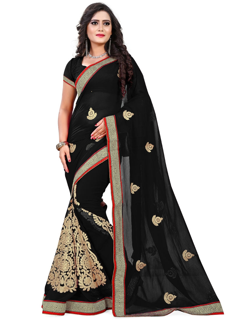 Exuberant Black Color Faux Chiffon Party Wear Saree