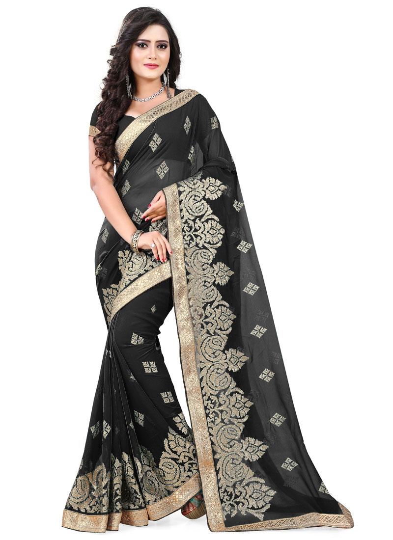 Exuberant Black Color Lace Work Designer Saree