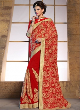 Exuberant Booti And Chicken Work Wedding Saree