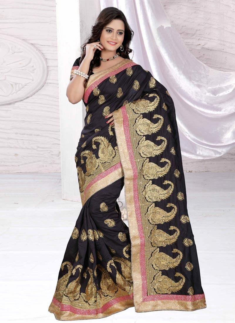 Exuberant Booti Work Art Silk Designer Saree