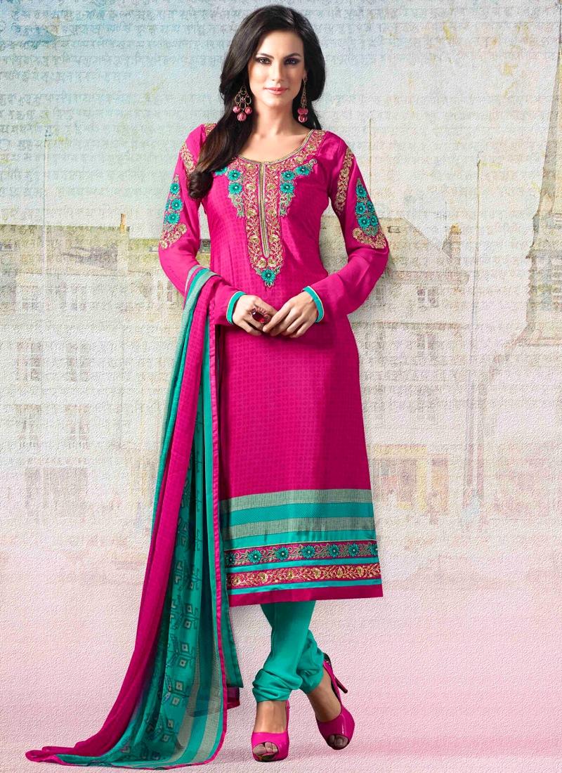 Exuberant Booti Work Churidar Salwar Suit