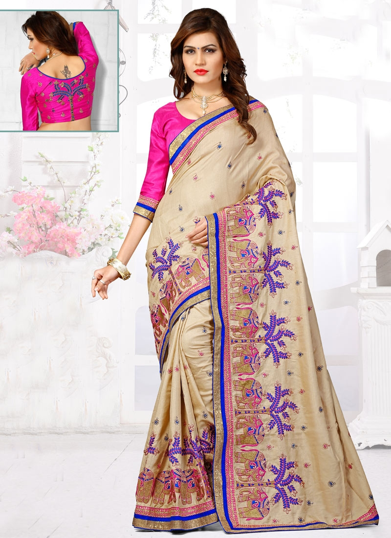 Exuberant Embroidery Work Wedding Saree