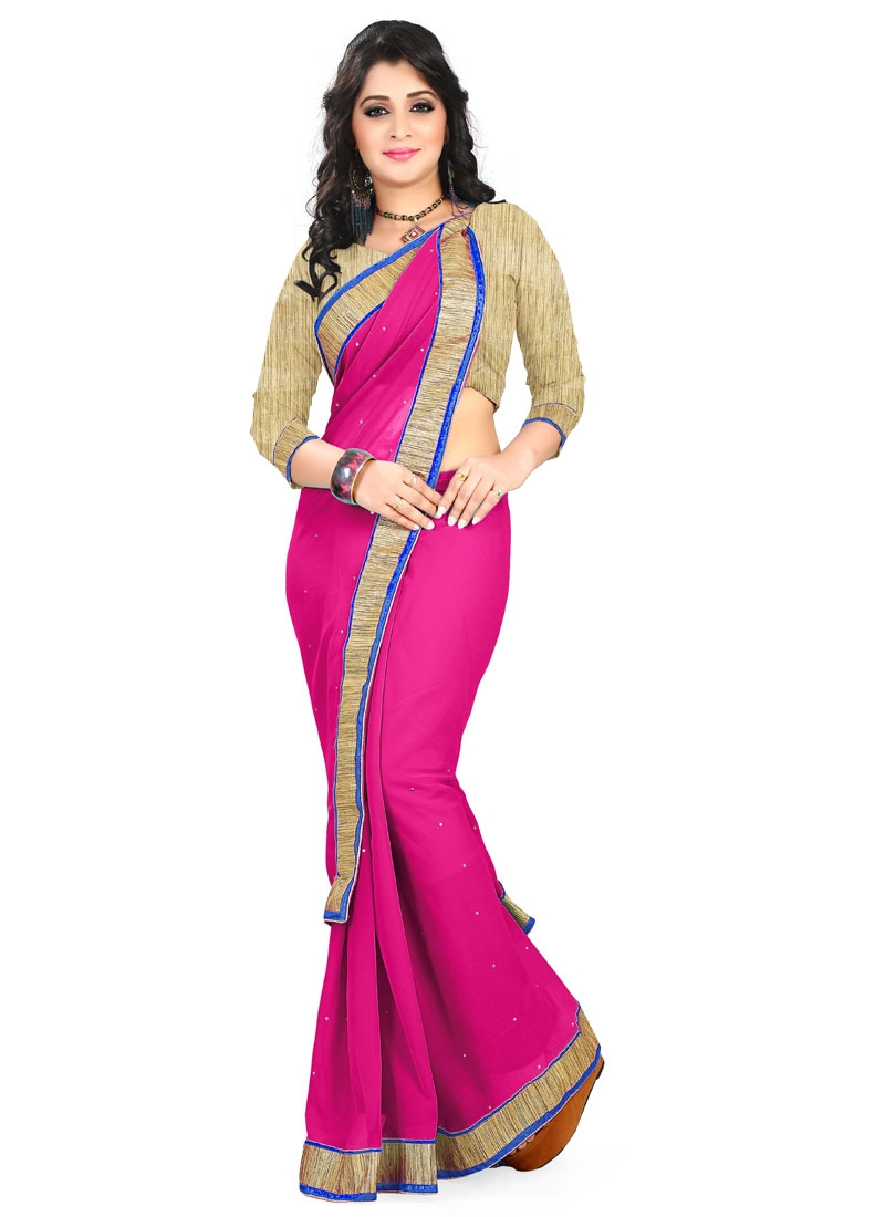 Exuberant Faux Georgette Lace And Resham Work Casual Saree
