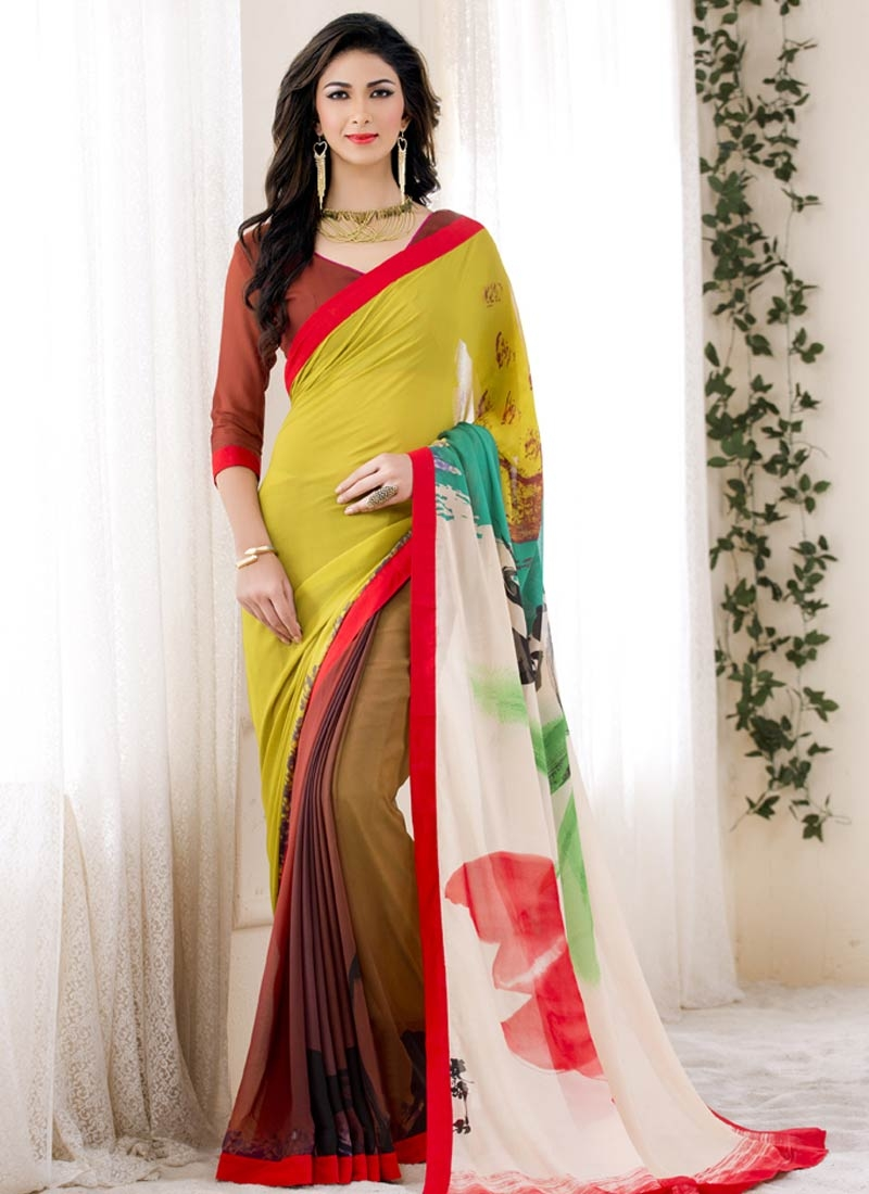 Exuberant Faux Georgette Off White Color Casual Saree