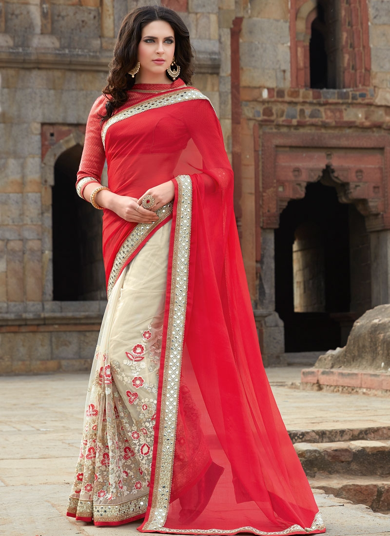 Exuberant Floral Work Half N Half Wedding Saree
