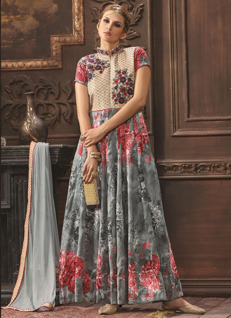 Exuberant Grey Color Long Length Designer Salwar Kameez