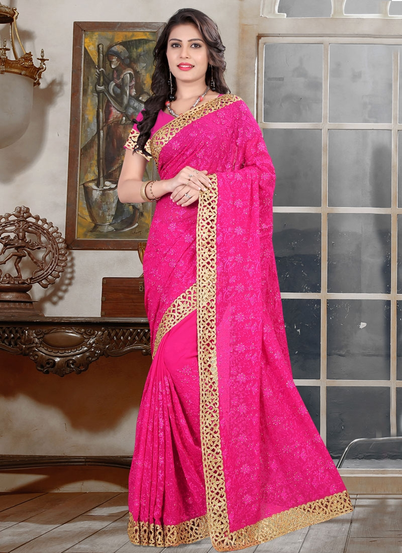 Exuberant Lace And Stone Work Wedding Saree