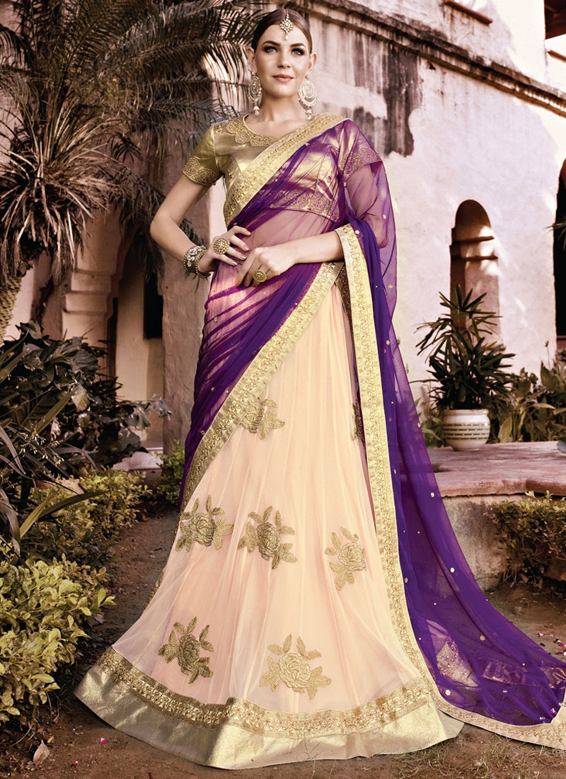 Exuberant Net Booti Work Wedding Lehenga Choli