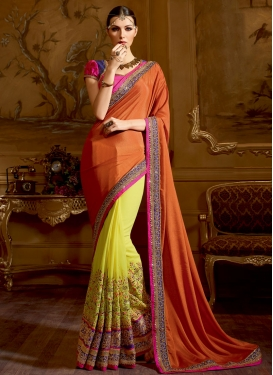 Exuberant Pure Georgette Resham Work Half N Half Wedding Saree