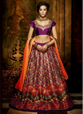 Exuberant Purple Color Banglori Silk Party Wear Lehenga Choli