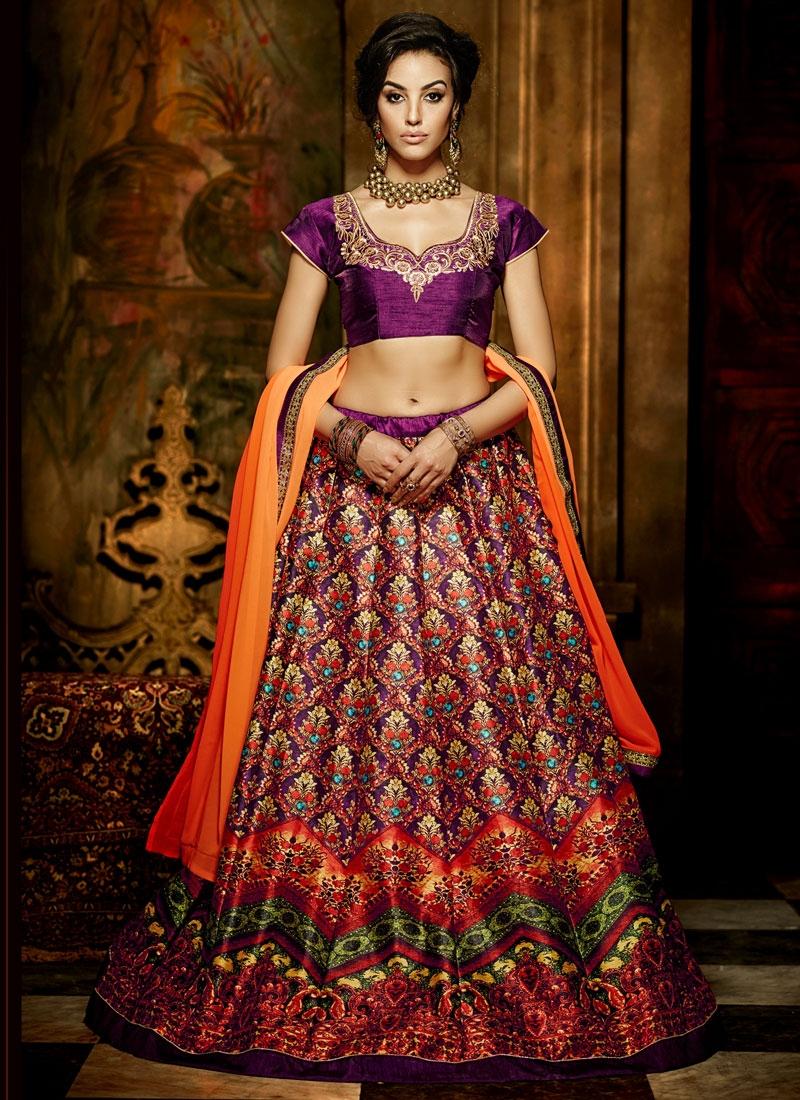 Exuberant Purple Color Banglori Silk Party Wear Lehenga Choli