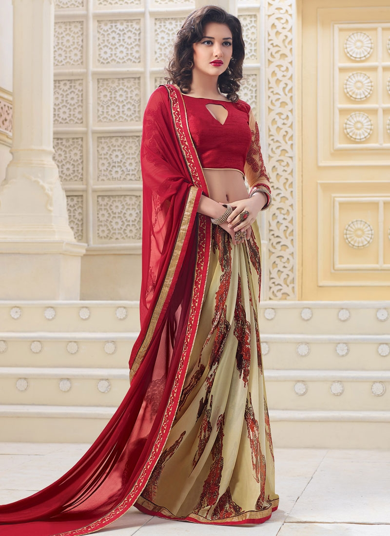 Exuberant Red And Beige Color Half N Half Casual Saree