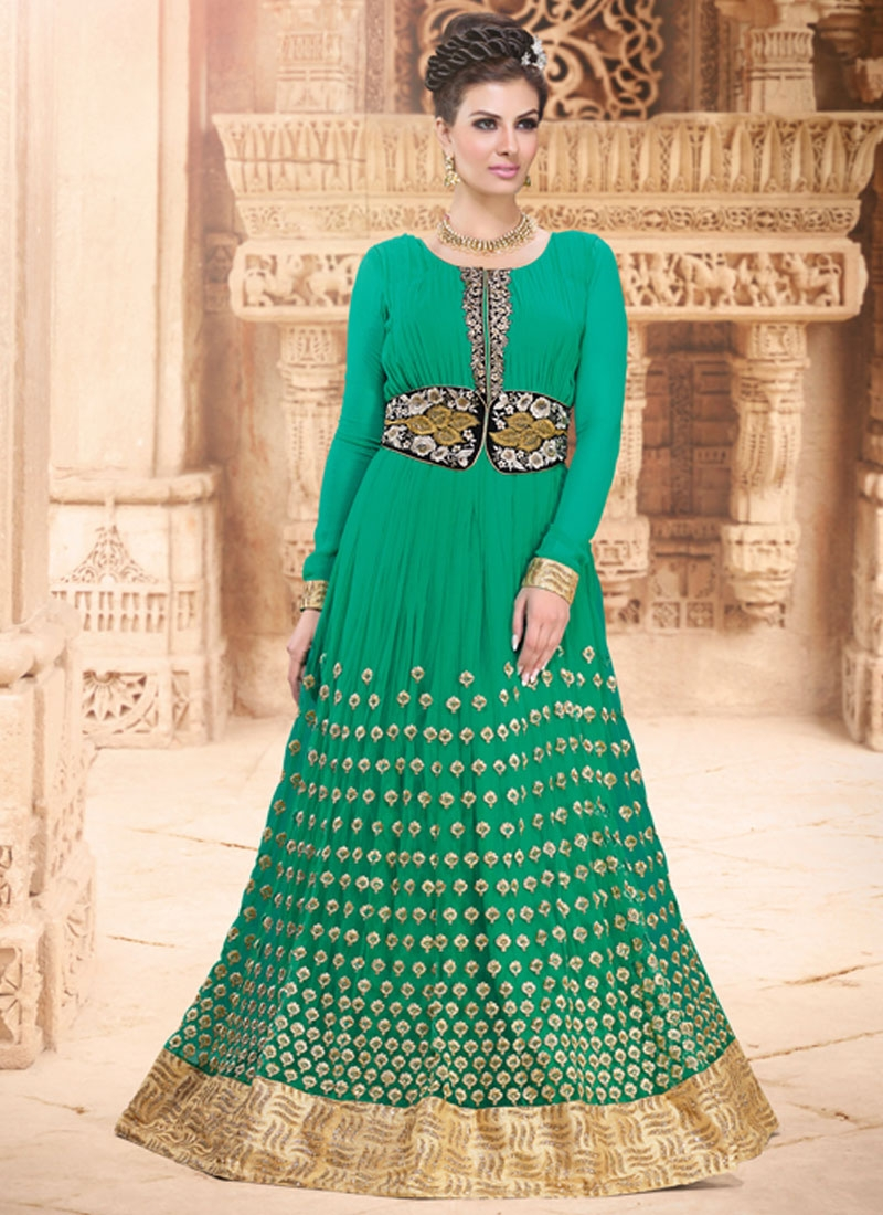 Exuberant Resham Work Long Length Anarkali Suit