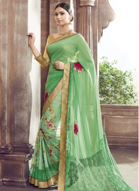 Exuberant Resham Work Net Party Wear Saree