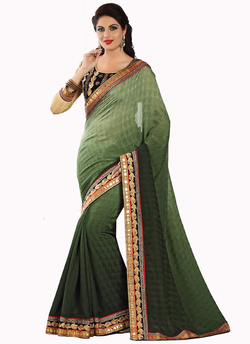 Exuberant Resham Work Party Wear Saree