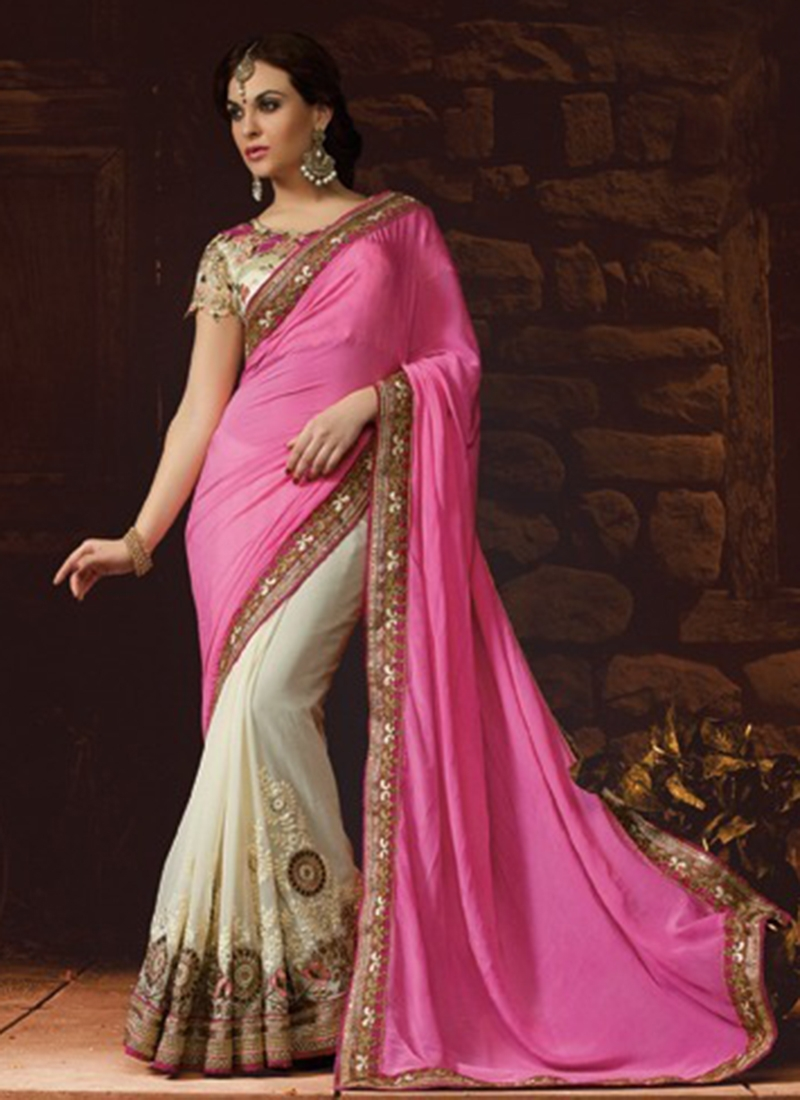 Exuberant Resham Work Pure Georgette Half N Half Wedding Saree