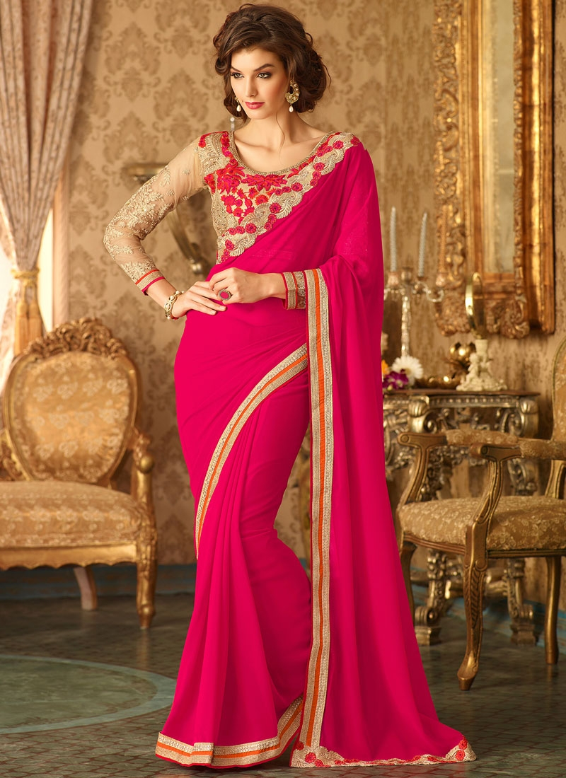 Exuberant Rose Pink Color Georgette Party Wear Saree
