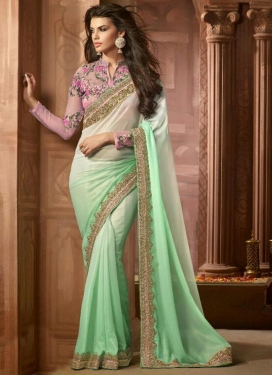 Exuberant Shimmer Georgette Lace Work Mint Green and Off White Contemporary Style Saree