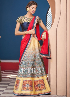 Exuberant Silk Abstract Print Work Trendy A Line Lehenga Choli