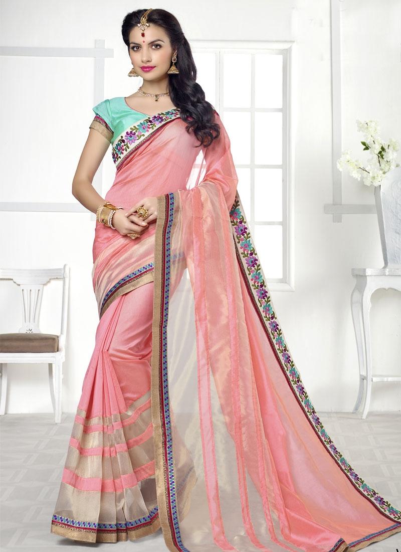 Exuberant Silk And Organza Party Wear Saree
