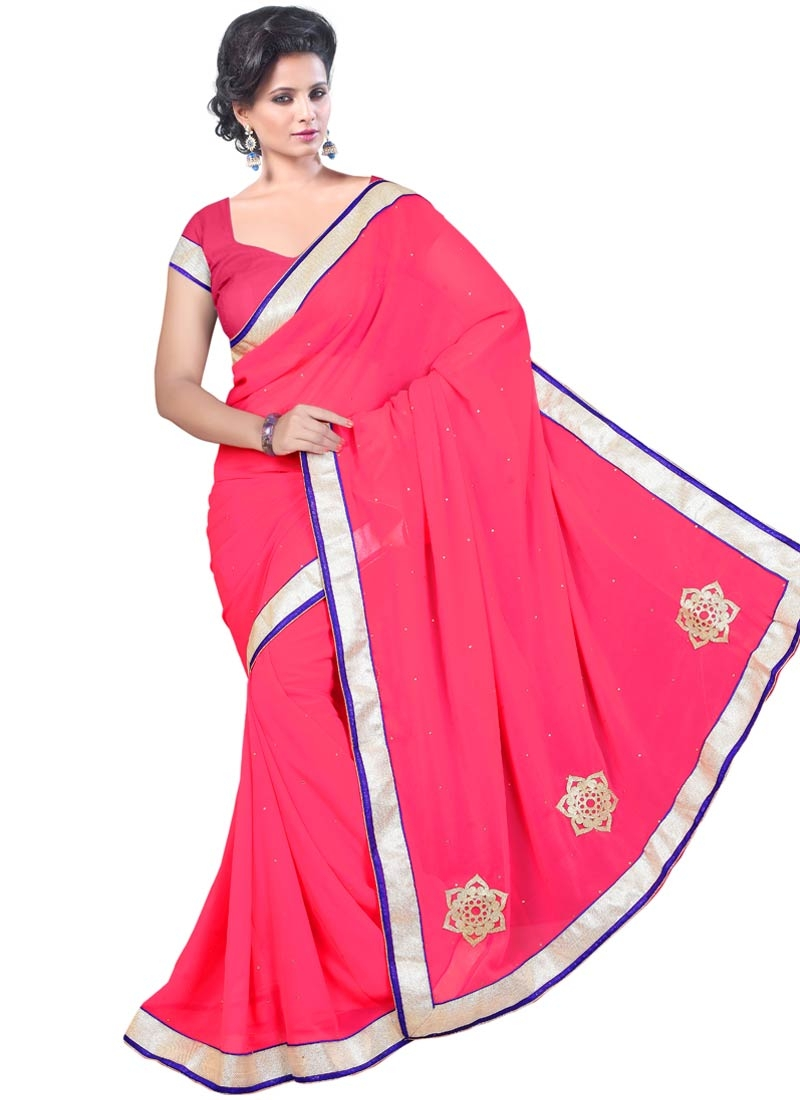 Exuberant Stone Work Faux Georgette Casual Saree