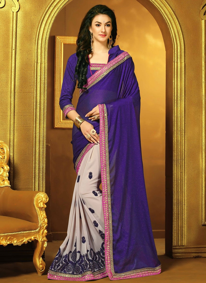 Exuberant Stone Work Navy Blue Color Half N Half Designer Saree