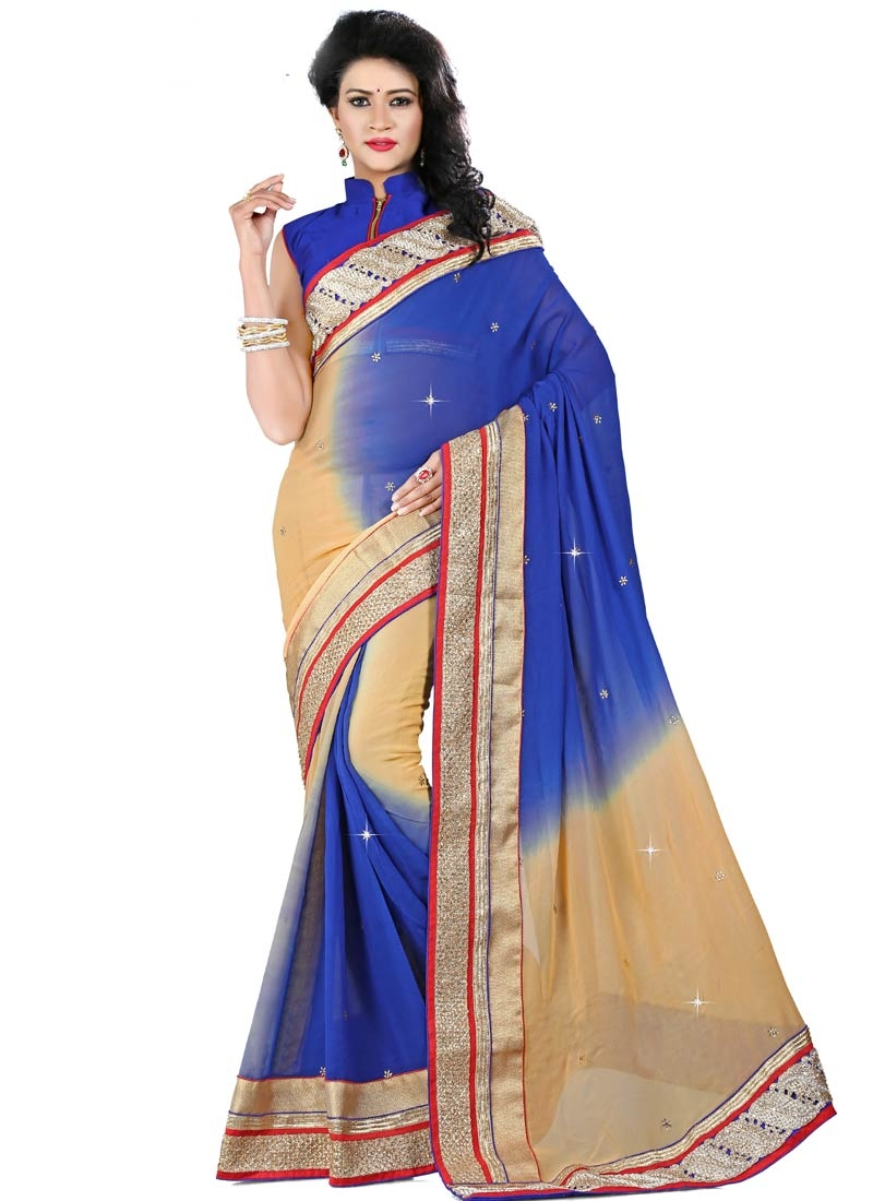 Exuberant Stone Work Viscose Blue Color Designer Saree