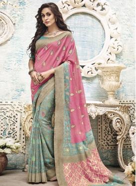 Eye-Catchy Aqua Blue and Pink Resham Work Art Silk Trendy Classic Saree For Ceremonial