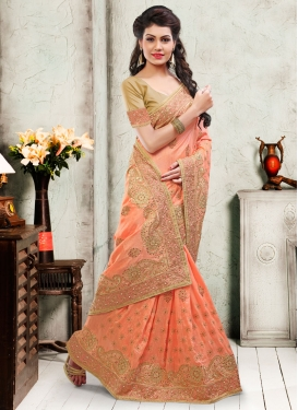 Eye-Catchy Art Silk Stone Work Wedding Saree