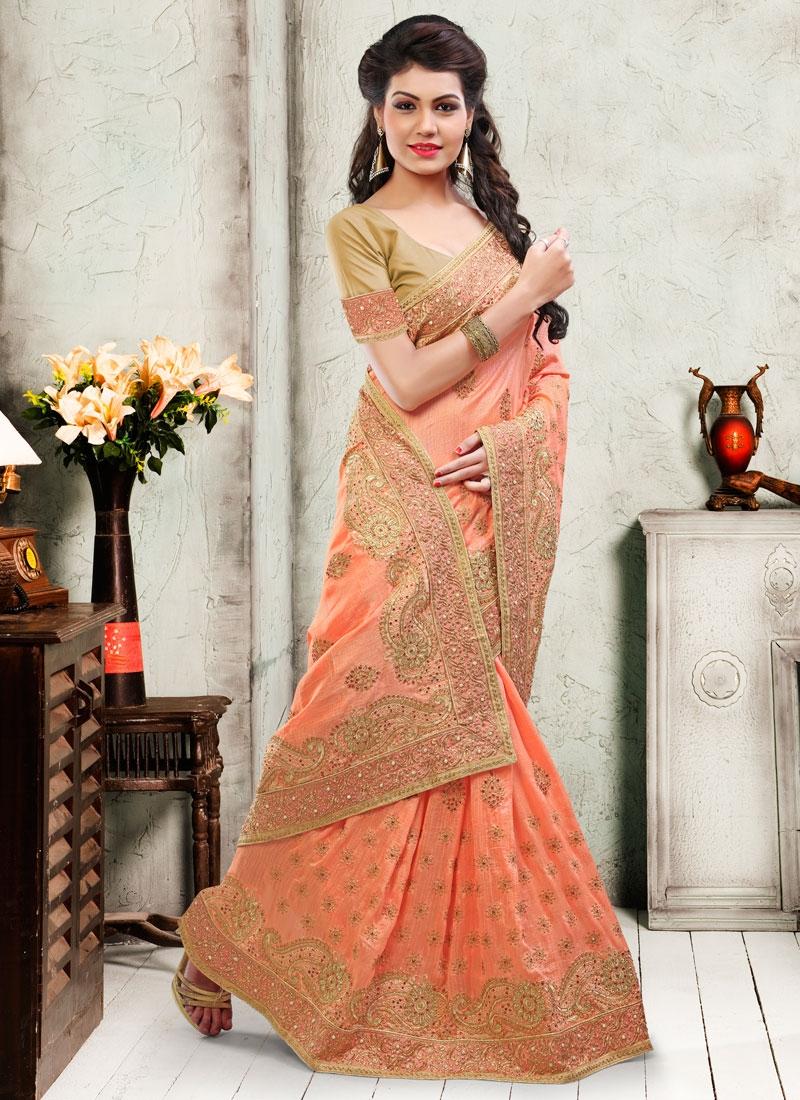 Eye-Catchy Art Silk Stone Work Wedding Saree