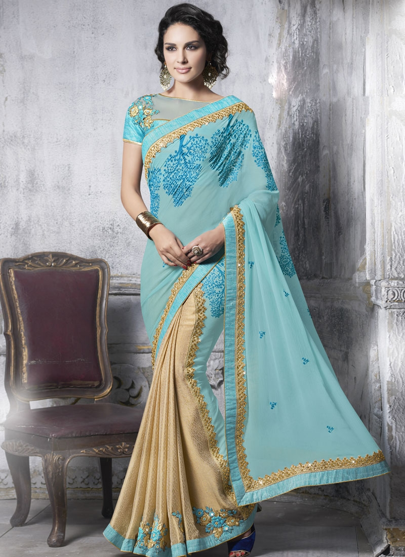 Eye-Catchy Booti Work Half N Half Designer Saree