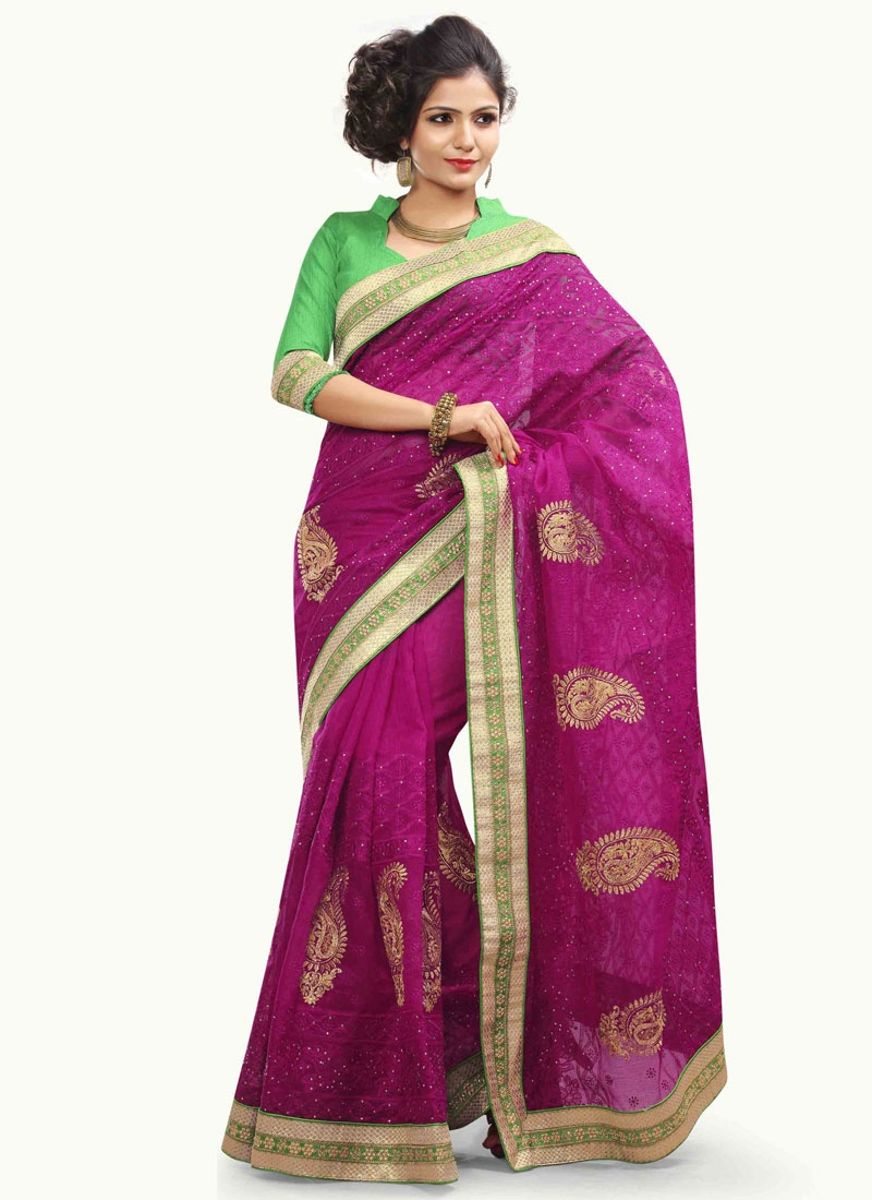 Eye-Catchy Booti Work Net Designer Saree