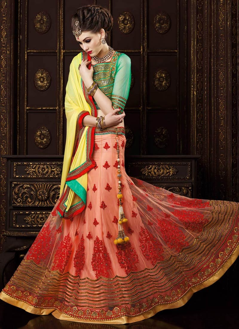 Eye-Catchy Booti Work Peach Color Wedding Lehenga Choli