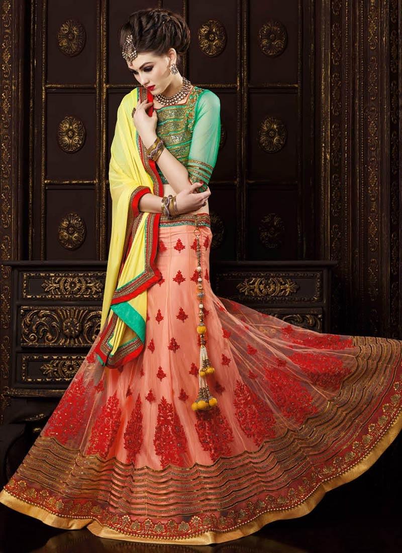 Eye-Catchy Booti Work Peach Color Wedding Lehenga Choli