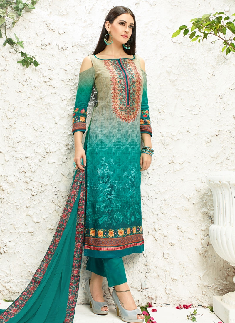 Eye-Catchy Cotton Satin Palazzo Style Party Wear Salwar Suit