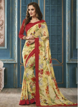 Eye-Catchy Digital Print Work  Contemporary Saree