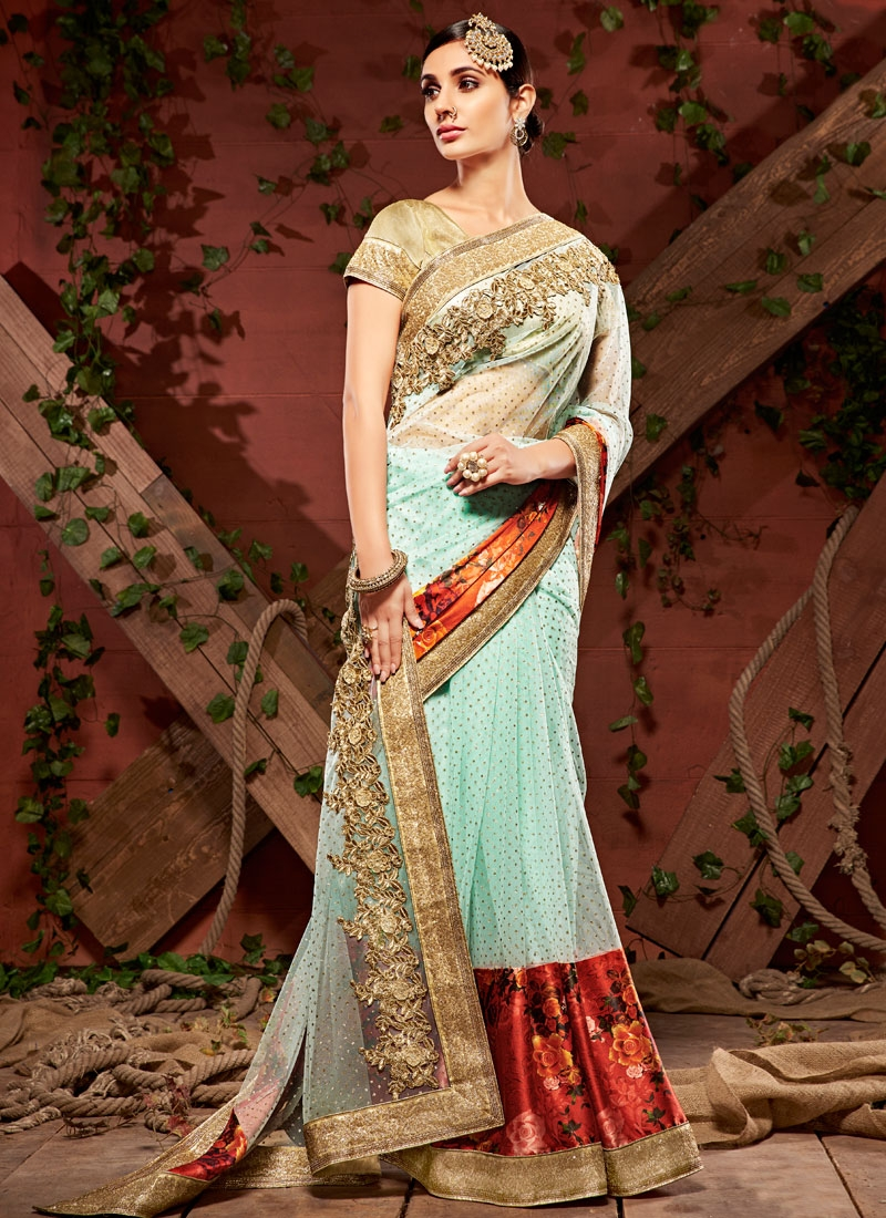 Eye-Catchy Digital Print Work Net Designer Saree