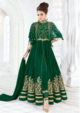 Eye-Catchy  Embroidered Work Pant Style Classic Salwar Suit