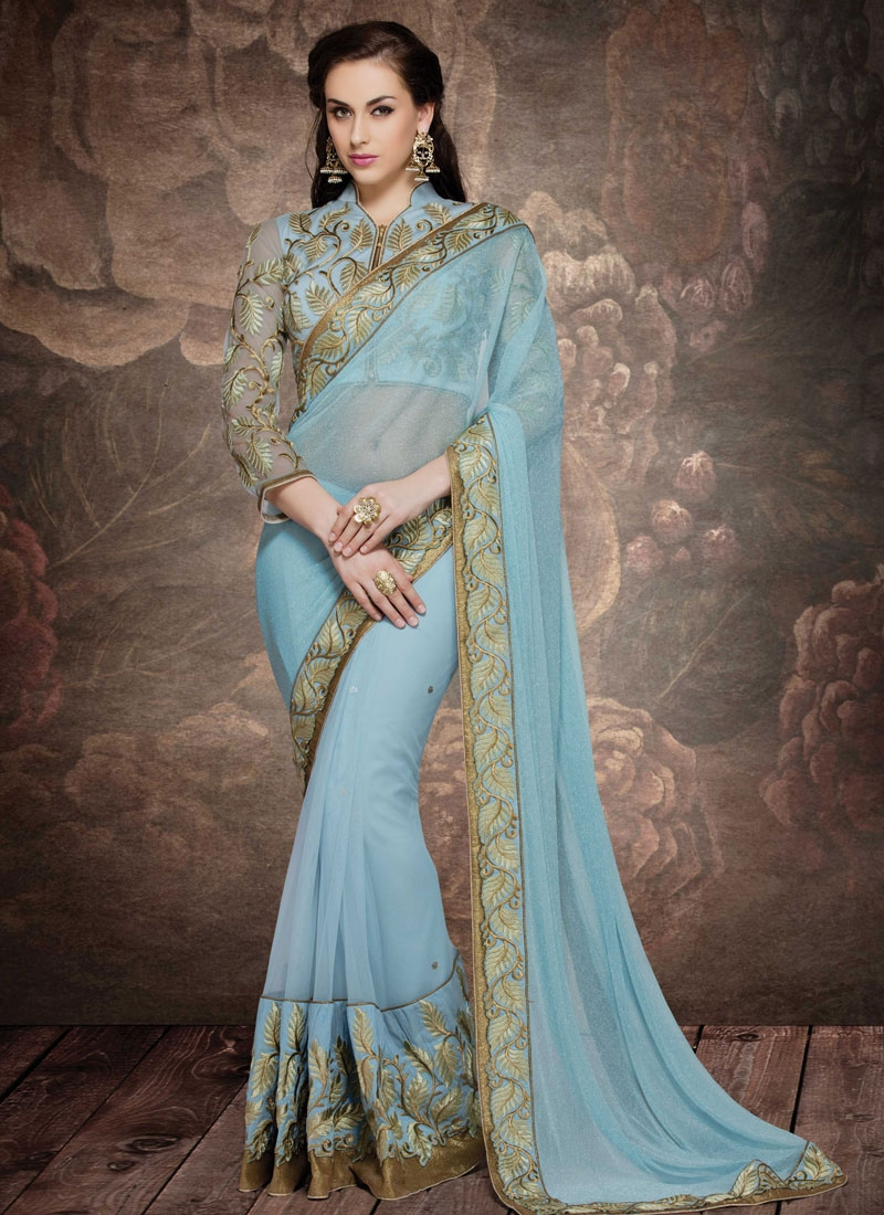 Eye-Catchy Embroidery Work Net Designer Saree