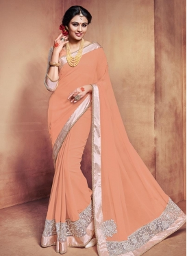 Eye-Catchy Faux Georgette Beads Work Designer Contemporary Style Saree