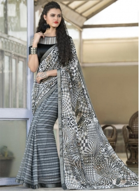 Eye-Catchy Geometric Print Work Net Grey and White Contemporary Style Saree