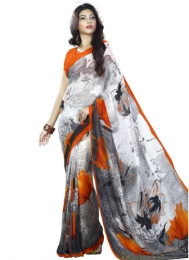 Eye-Catchy Grey and Red Digital Print Work Contemporary Saree