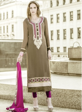 Eye-Catchy Lace Work Brown Color Party Wear Salwar Suit