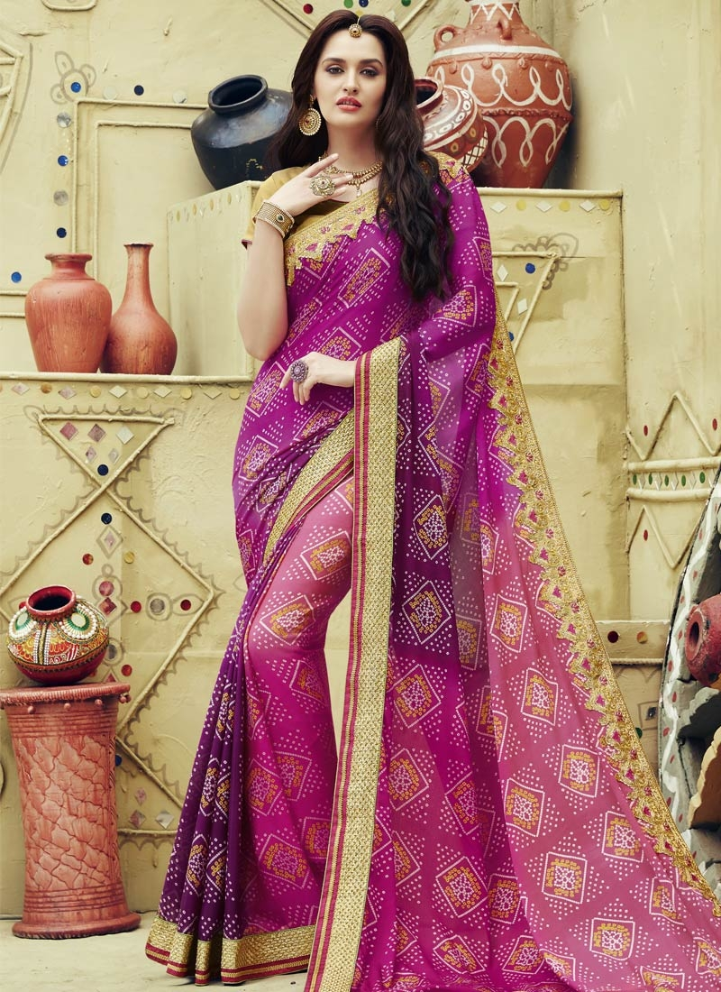 Eye-Catchy Lace Work Purple Color Party Wear Saree