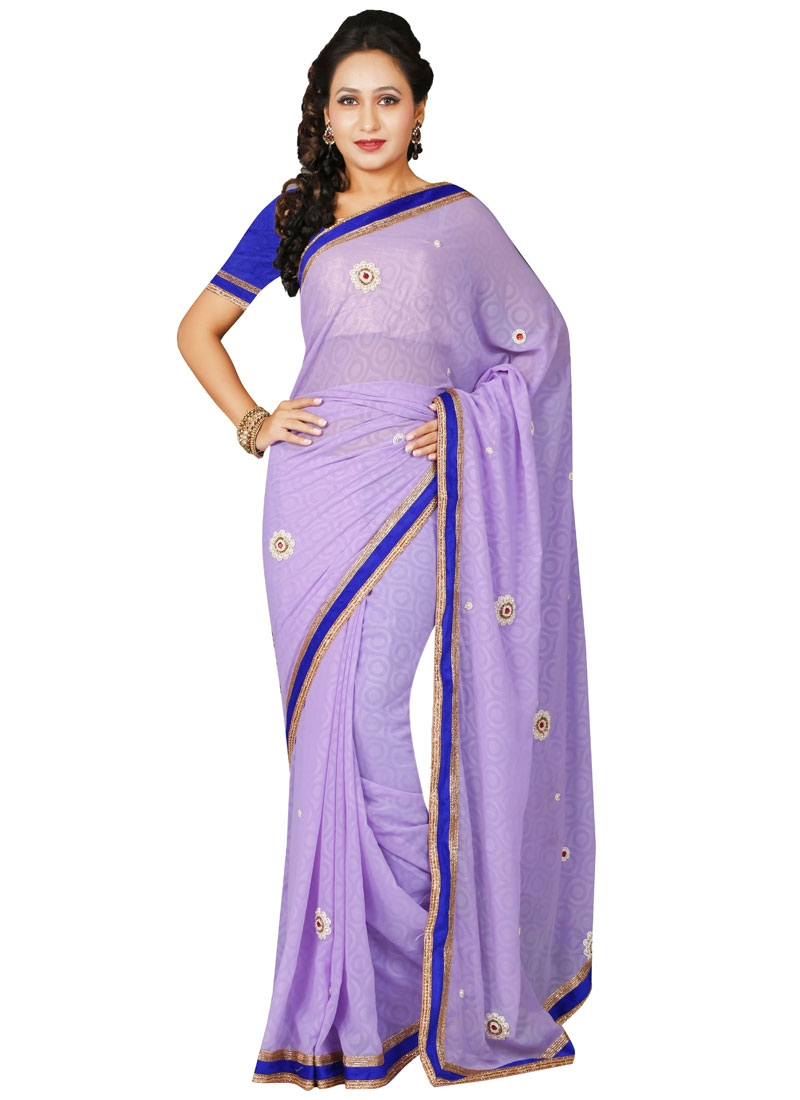 Eye-Catchy Lavender Color Casual Saree