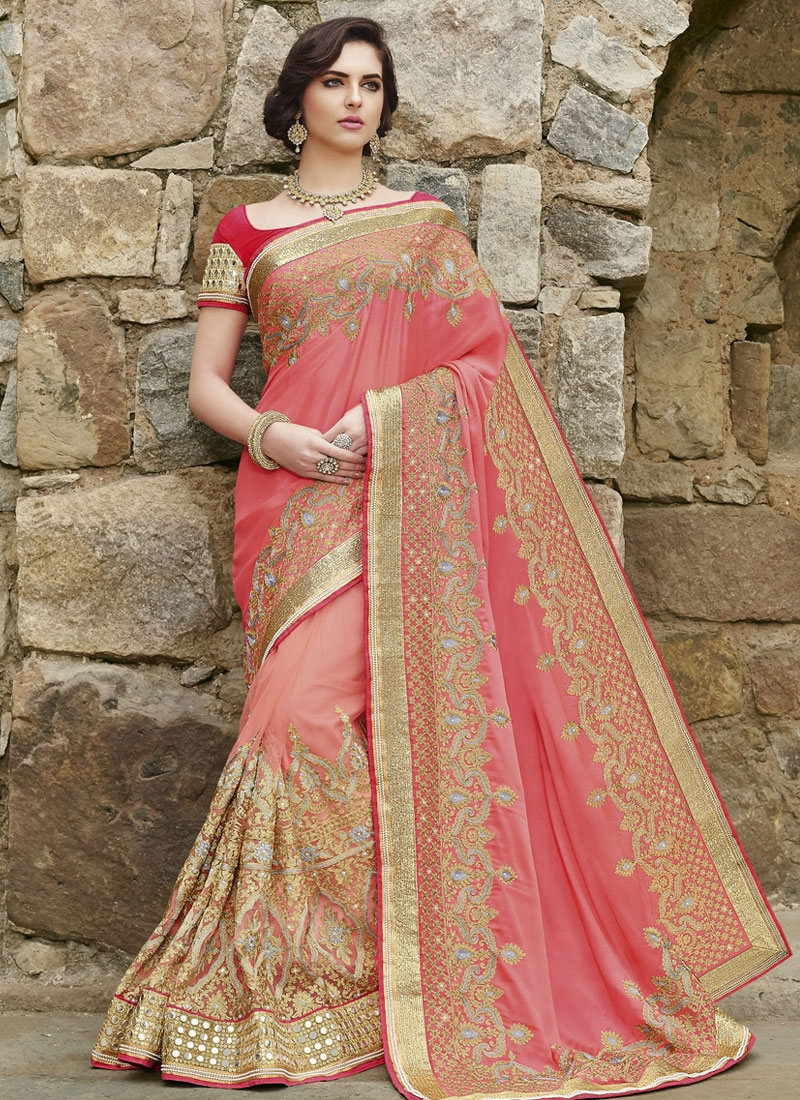 Eye-Catchy Mirror And Embroidery Work Wedding Saree